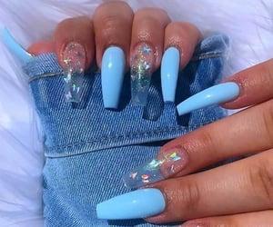 blue, nails, and acrylics image