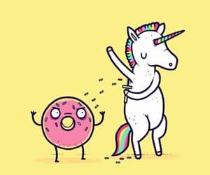 donut, unicornio, and rainbow image