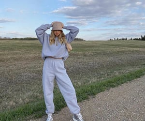 grey outfit, grey oversized sweater, and dior sneakers shoes image