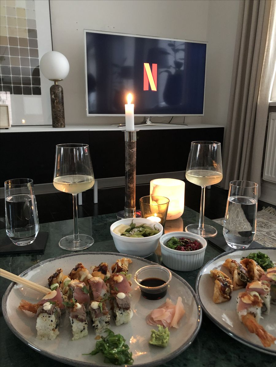 dinner, sushi, and wine image
