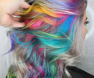color, hair, and rainbow image