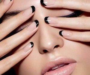 black, french manicure, and nail art image