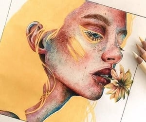 art, drawing, and yellow image