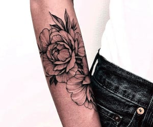aesthetic, flowers, and ink image