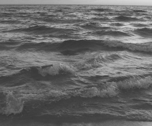 ocean, sea, and black and white image