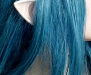 blue, ear, and blue hair image