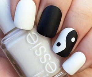 black & white, nail art, and ying-yang image