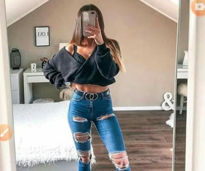 belt, jeans, and sneakers image