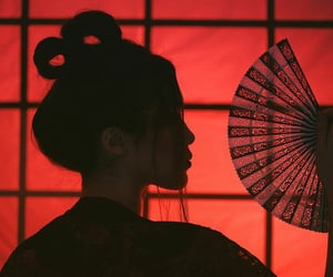 red, geisha, and aesthetic image
