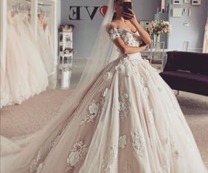 ballgown, dress, and flowers image