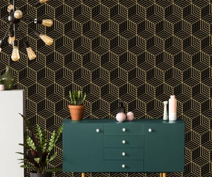 black and gold, geometric wallpaper, and removable wallpaper image