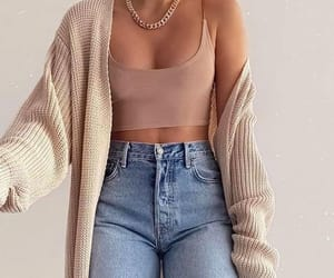 cardigan, top, and high waisted jeans image
