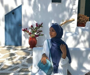 aesthetic, blue, and hijab image