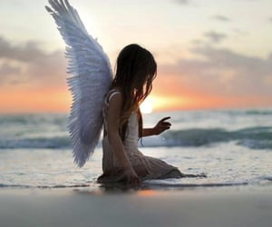 angel, wings, and beach image