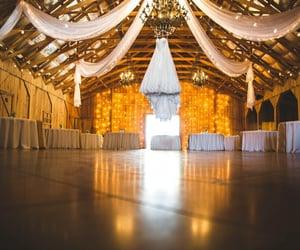 fairy lights, reception, and barn image