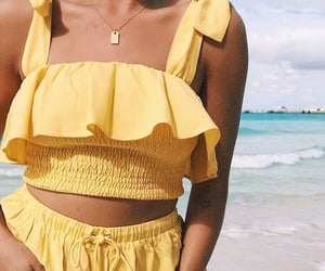 yellow, beach, and fashion image