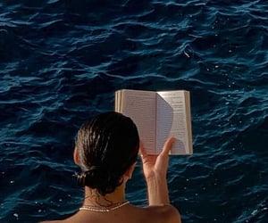 book, girl, and ocean image
