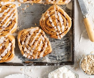 cinnamon roll, bread, and brioche image