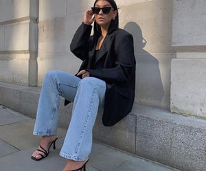 black heels, fashion, and jeans image