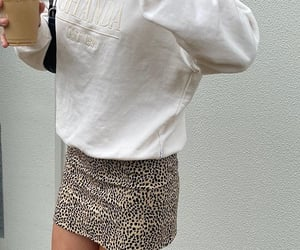 cheetah print skirt, fashion style mode, and outfit of the day ootd image