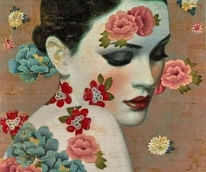 artwork, flowers, and woman image