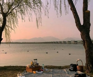 picnic, sunset, and view image