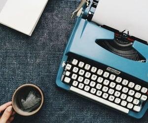 typewriter, blue, and writer image