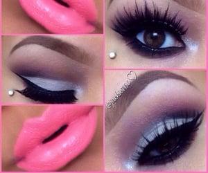 fake lashes, hot pink, and hot pink lipstick image