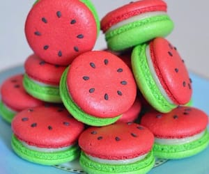 food, watermelon, and macaroons image