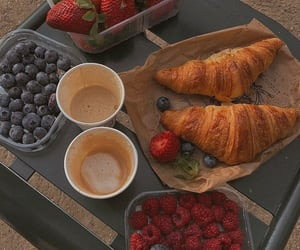 blueberry, coffee, and croissant image