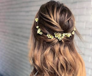 flowers, hairstyle, and long hair image