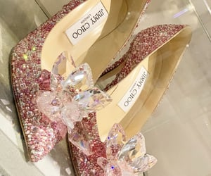 Jimmy Choo, pink shoes, and sparkly heels image
