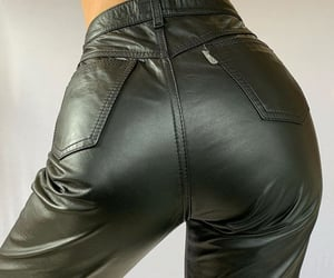black leather pants, leather pants trousers, and fashion style mode image