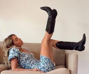 cowboy boots, dress, and fashion image