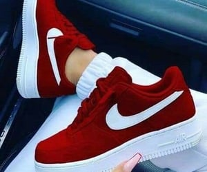 nike, red sneakers, and sneakers image