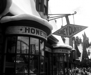 black and white, harry potter, and honeydukes image