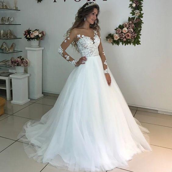 Simple Wedding Dresses For Bride Lace Applique Elegant Off White Wedding Gown Robe De Mariee