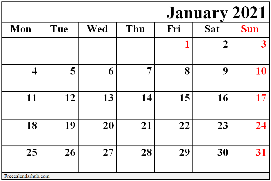 Free Printable January 2021 Calendar on We Heart It