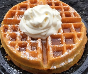 food, waffles, and cream image