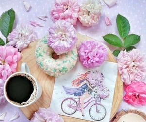 cup of coffee, flowers, and pink image
