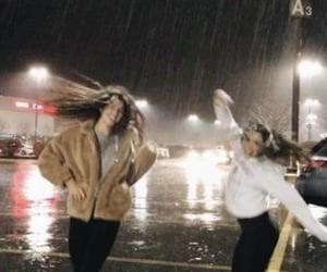 rain, friends, and girls image