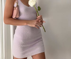 purple dress, outfit of the day ootd, and white roses image
