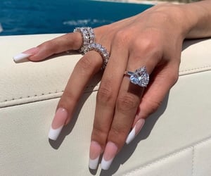 pink and white, diamond rings, and beauty goals image