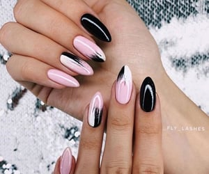 black nails, fashion, and manicure image