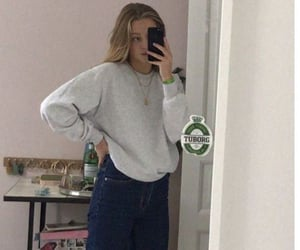 sneakers, sweater, and cute outfits image
