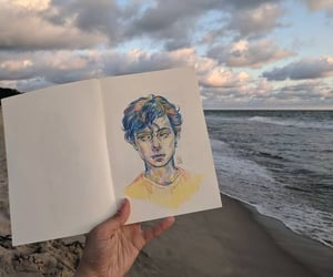 art, drawing, and beach image