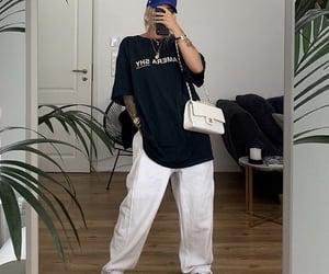 blue hat, streetwear, and mirror selfie image