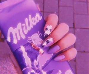 purple nails, milka, and milka chocolate image