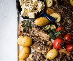 grill, potato, and greek food image