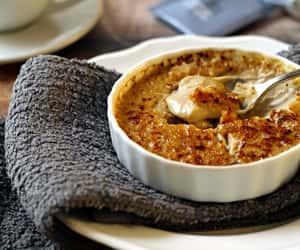 cream, creme brulee, and dessert image
